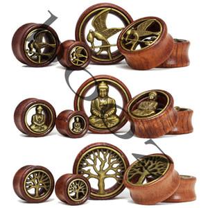 Envío gratis rojo madera ear gauges tapones perforación túnel joyería del cuerpo venta al por mayor 12-30mm