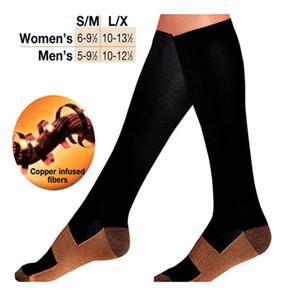 Wholesale- 1 Pair Anti-Fatigue Unisex Men Women Compression Socks Travel Comfortable Soft Knee High Stockings Anti Fatigue Magic Socks Man
