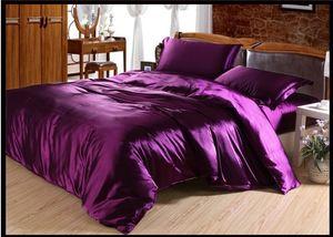 Oscura de color morado oscuro satinado cama determinada de hojas de seda Rey Queen tamaño completo colchas de lino edredón edredón de la cama cubierta de la cama colcha-in-a-doble bolsa sola