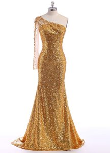 2016 Evening Gowns Pageant Gowns Party Dresses Formal Gowns Crystal Custom Made vestidos de noche Elegant One Shoulder Sequined Gold Classic