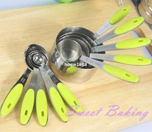 Ensemble de 10pcs tasses à mesurer en acier inoxydable et cuillère à mesurer cuillère en silicone poignée de cuisine outil de mesure