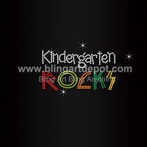 Kindegarten Rocks Strass Fer Sur Des Transferts Pour Enfants Vêtements Service Personnalisé Gratuit Coût Livraison Gratuite DHL