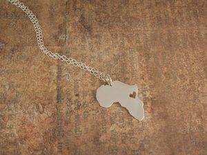 Африканская карта ожерелье Страна Южная Африка карта ожерелье усыновление ожерелье Эфиопия Чондоло Африка сердце ожерелья
