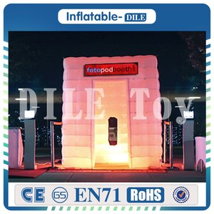 Free shipping 2.4*2.4*2.4m fashionable sector inflatable photo booth with 12 colors changing LED lights for wedding