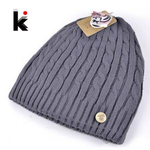 Al por mayor-2015 nuevo invierno para hombre sombreros de diseño de doble cara máscara de esquí de punto sombrero de lana hombres cap beanie plus grueso sombrero de terciopelo para hombres capó