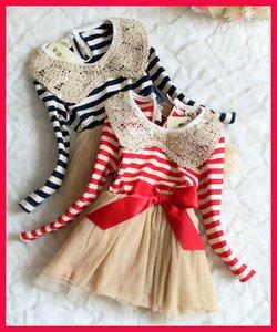 Осень chiristmas пачка дети девушки блесток платье Виви платье девушки красный и белый полосатый пачка платье с длинным рукавом блестки воротник девушки кружева d
