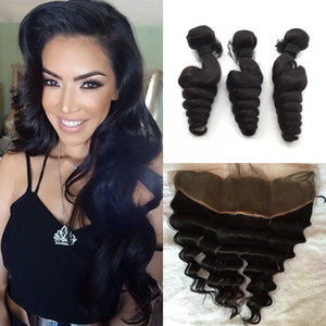 Brazilian Hair Bundles with Lace Frontal Closure Double Weft Human Hair Extensions Dyeable Remi Virgin Hair Weave Loose Wave Wavy