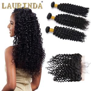 Extensões de cabelo humano trama malaia onda profunda Curly 3 pacotes com 13 X 4 Lace frontal do cabelo Weaves pacotes com Frontal 4 Pieces monte