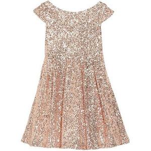 2019 Bling Rose Sequins Girls Pageant Dresses Bateau Capped Sleeves 지퍼 티 길이 셔링 라인 꽃의 소녀 드레스 진짜 샘플