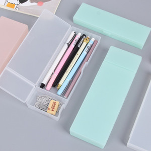 Solid color translucent frosted plastic stationery pencil box simple multifunctional storage pen pencil box creative students pencil bags