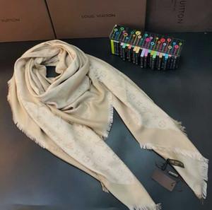 Hochwertige klassische Markendesigner Wolle Seidenschal Mode Luxuxschals dicken Schal 140 * 140 cm ohne Kasten