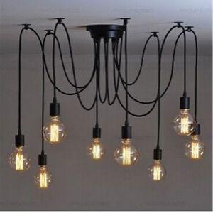 lampadario classico E27 spider lamp pendant bulb holder gruppo Edison fai da te lampade di illuminazione lanterne accessori filo messenger Spedizione gratuita