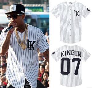 도매 -KNYEW 07 DXPECHEF 흰색 줄무늬 저지 마지막 킹 LK 힙합 MenWomen 커플 스포츠 코튼 셔츠 티 플러스 크기 M-XXL