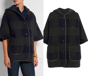 Fashion Plaide Gird Women Coat Hooded Half Sleeve Trench 15100607