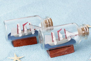 5pcs 해상 소원 병 유리 여름 해변 세일링 수지 공예 홈 소형 테라리움 Microlandchafts 장식 도구