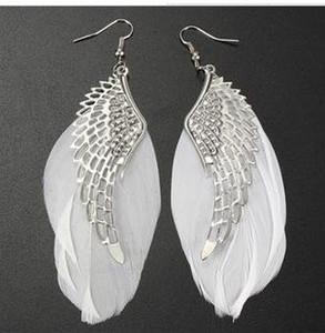 New Feather Wing Dangle Tropfen Ohrringe Alloy White Sliver Kronleuchter Lange Ohrringe Für Frauen Weihnachtsgeschenk Neue Erklärung Schmuck