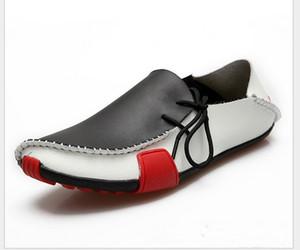 Zapatos casuales para hombre Mocasines de cuero de vaca Mocasines sin cordones Mocasines para hombre 2014 Pisos de cuero genuino