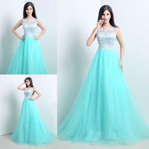 2015 nueva acción elegante A-Line Mint Green vestidos de noche de encaje con apliques palabra de longitud barato Prom Party Gowns Vestidos De Festa