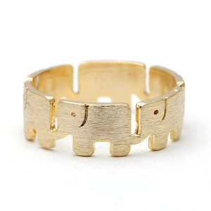10PCS-R029 골드 실버 귀여운 래핑 된 럭키 코끼리 반지 코끼리 반지 주위에 링크 된 여성 여성을위한 간단한 동물의 반지