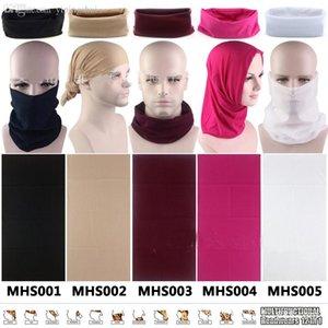Venta al por mayor-islámica Hijab Venta al por mayor Hijab Underscarf Gorras Máscaras para montar 10 estilos Pantalla solar al aire libre Color sólido Jersey Hijab Whalesale