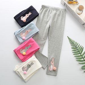 SpringAutumn Children Pants 100 % Cotton Lovely Rabbit Girls 레깅스 언더 팬트 롱 바지 Tide 5 Colors
