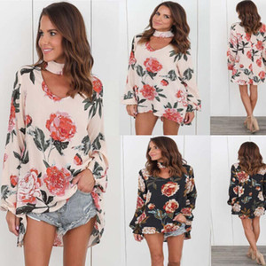 S-3XL Женская осенняя мода Flora Печатный джемпер с длинными рукавами Свободная блузка Женская футболка с цветочным принтом
