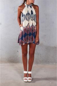 도매 -2016 새로운 패션 섹시 레이디 여름 휴가 Boho Halterneck 쉬폰 파티 숏 비치 프린트 드레스