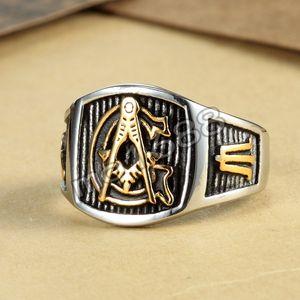 Freemason - Anillo de oro plateado para hombres Anillo de acero inoxidable Mason gratuito de acero inoxidable 316L