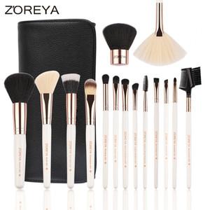 Zoreya marca 2017 mais recente 15 pcs rose gold maquiagem escovas set fundação sombra de olho misturando escova kabuki com pu saco e caixa de presente