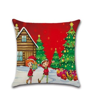 ss New Sale Christmas Santa Claus Christmas Tree Crystal Ball Pillow Case Cushion Cover 45 * 45cm,linen pillow case