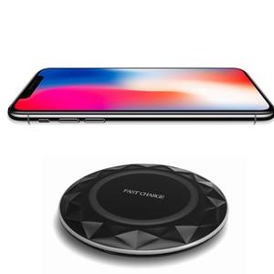 Per Iphone 8 X Qi caricabatterie wireless veloce pad Diamonds Ultrathin con LED Light con cavo USB per Samsung S6 S7 Edge S8 Plus Note5 8