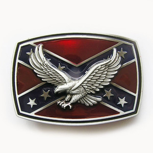 New Vintage Men Belt Buckle Enamel 3D Eagle on Flag Confederate Rebel Belt Buckle Gurtelschnalle Boucle de ceintu BUCKLE-3D047 Free Shipping
