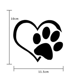 Lovely Dog Puppy Paw Heart Design Автомобиля Наклейка Автомобиля Наклейки Черный Белый 11,5 см Авто Экстерьер Аксессуары Окна Стекло Наклейки