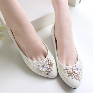 Scarpe da sposa fiore avorio in pizzo fatti a mano 2015 scarpe da sposa economici su misura altezza tacco donna scarpe piatte per scarpe da sposa damigella d'onore