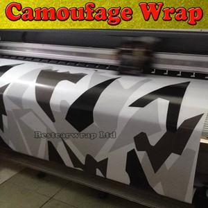 Nero Bianco Grigio Artico Camouflage / Camo Vinile per auto Wrap Pixel Camo Sticker Film con rilascio d'aria Immagine del veicolo Dimensioni: 1,52 x 30m / rotolo