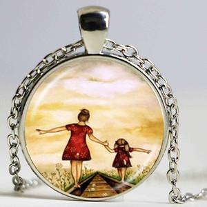 Anne Anne ve Oğul Kızı Fotoğraf Kolye Aile Hediye Sonsuza Aşk Takı Cam Cabochon Kolye Best Friends Mücevherat Hediyeler