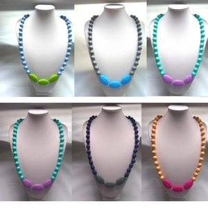 Nuevos collares TEETHer mom Beads Colgante de silicona dentición Collar para bebé masticar joyas 7 colores para elegir