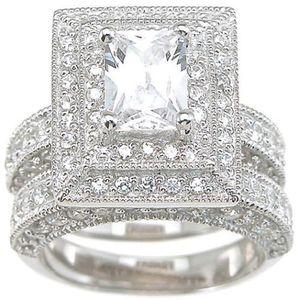 Monili d'annata all'ingrosso professionali Topaz diamante simulato 14KT oro bianco riempito 3-in-1 anello di nozze Set per il regalo di natale Sz 5-11