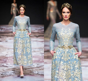 Vintage Tea-length Long Sleeve Prom Dresses with Gold Lace 2018 Modest Michael Cinco Sky Blue Custom Make Evening Wear Pegant Gowns