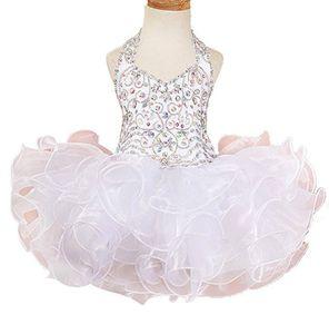 Short Crystal Ruffle Perlen Kuchen-Geburtstags-Mädchen-Festzug-Kleid 2018 Mädchen Kommunion-Kleid-Kind Formal Wear Blumen-Mädchen-Kleider für Hochzeit