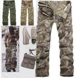 Moda al por menor Nueva 2014 Mens Algodón Casual Ejército militar verde Cargo Camo Combat Work Pants Pantalones 5 colores tamaño 28-38R49