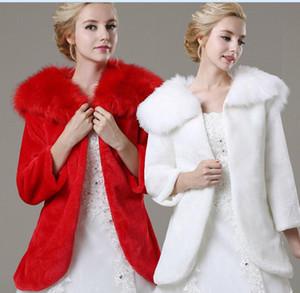 Nefis Kırmızı / Beyaz Gelin Düğün Şal Kış Uzun Kollu Kalın Kürk Faux Sıcak Gelin Ceket Toptan 2017