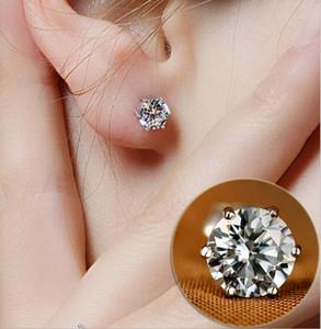 Espárragos 5 MM plata 925 Crystal Zircon Stud pendientes antialérgicos elegantes mujeres niñas noble pendientes de la joyería para la venta barato