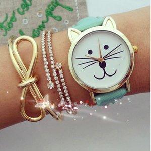 Мода платье женщины искусственная кожа милый кот девушка аналоговый кварцевые циферблат наручные часы relojes mujer 2016 часы