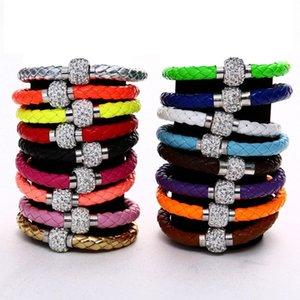 Mix 17colors neue PU-Leder-Armband CZ-Disco-Kristall-magnetischen Haken-Armband-freies Verschiffen