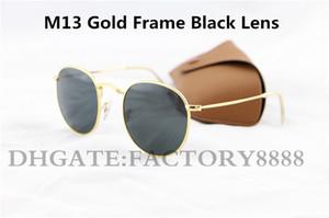 1шт способа высокого качества круглые солнечные очки Mens женщин Солнцезащитные очки Золото Металл Черный Темно-50мм Стеклянные линзы лучше Brown Case