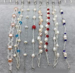 Preço promocional! Estilo misto ordem Mista Pure natural pulseira de pérolas de água doce Moda Crystal Pearl Charm Bracelet
