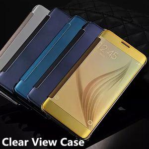 Mirror Leather Flip Smart Case Lujo Electrochapado plateado transparente claro Vista Chrome Wallet Cover para Samsung Galaxy S7 edge S7 Note 5