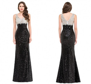 2016 Hot Sale Fashion New Arrival Charming Free Shipping Trumpet Mermaid Sleeveless Sequins V-neck Floor-Length Evening Dresses