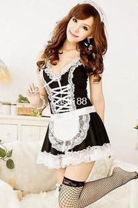 Mulheres Sexy Lingerie Preto Branco Francês Avental Avental Empregada Doméstica Lolita Costume Vestido Uniforme